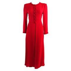 Oscar De La Renta Kaftan Inspired Red Silk Two Piece Pant Suit