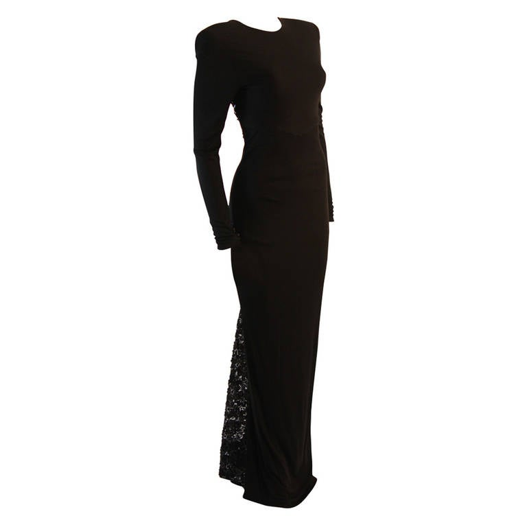 Gorgeous Vicky Tiel Sequined Lace Black Gown Size 38