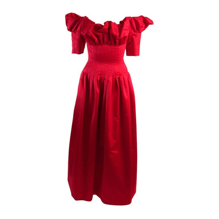 Stunning Nolan Miller Cardinal Red Tufted Silk Gown