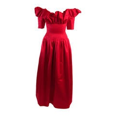 Stunning Nolan Miller Cardinal Red Tufted Silk Gown
