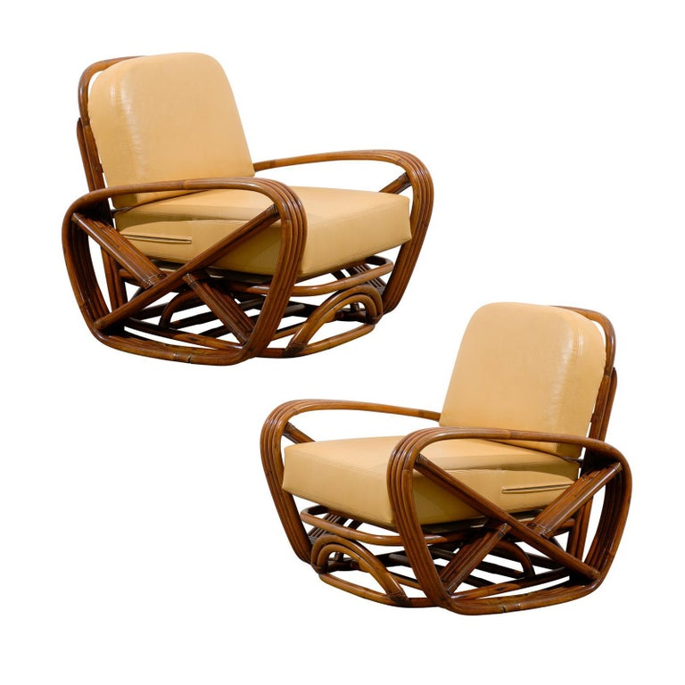 Handsome Frankl Style Square Pretzel Lounge Chairs For Sale