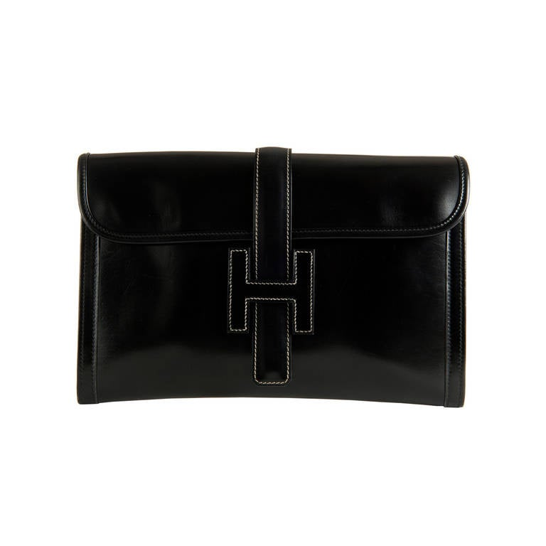 A Vintage Hermes Black Box Leather \u0026#39;Jige\u0026#39; Clutch Bag at 1stdibs