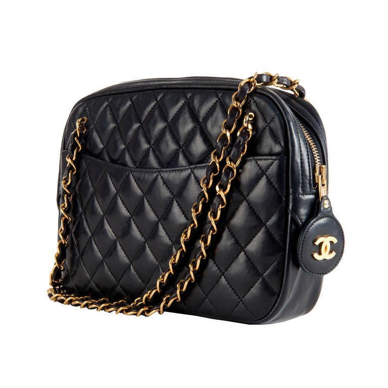 A Classic Chanel 25cm Camera Bag In Navy Quilted