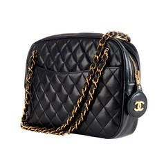 A Classic Chanel 25cm 'Camera' Bag in Navy Quilted Lambskin