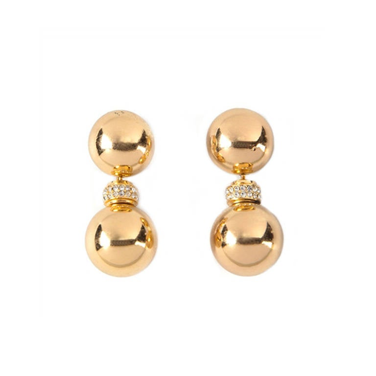 Christian Dior Vintage Drop Ball Earrings For Sale