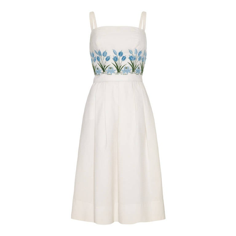1950s/60s Tina Leser White Sundress with 3D Embroidery 1