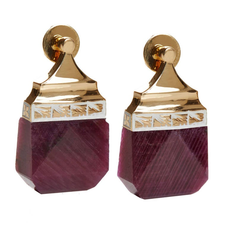 Jade Jagger NeverEnding Ruby Enamel Earrings 1