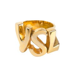 Yves Saint Laurent Vintage Cut-Out Logo Ring