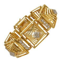 Rare Lalaounis Diamond Gold Geometric Bracelet