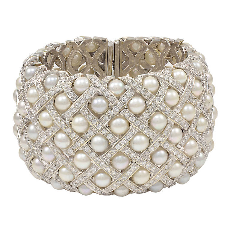 Fabulous Wide Pearl Diamond Cuff Bracelet At 1stdibs
