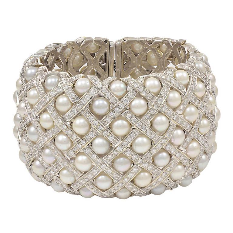 Fabulous Wide Pearl Diamond Cuff Bracelet For