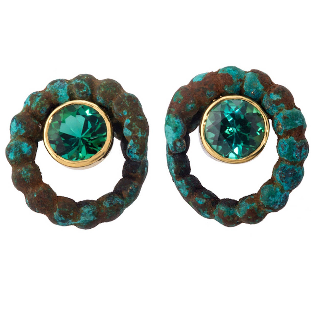 Tourmaline and Han Dynasty Bronze Gold Earrings