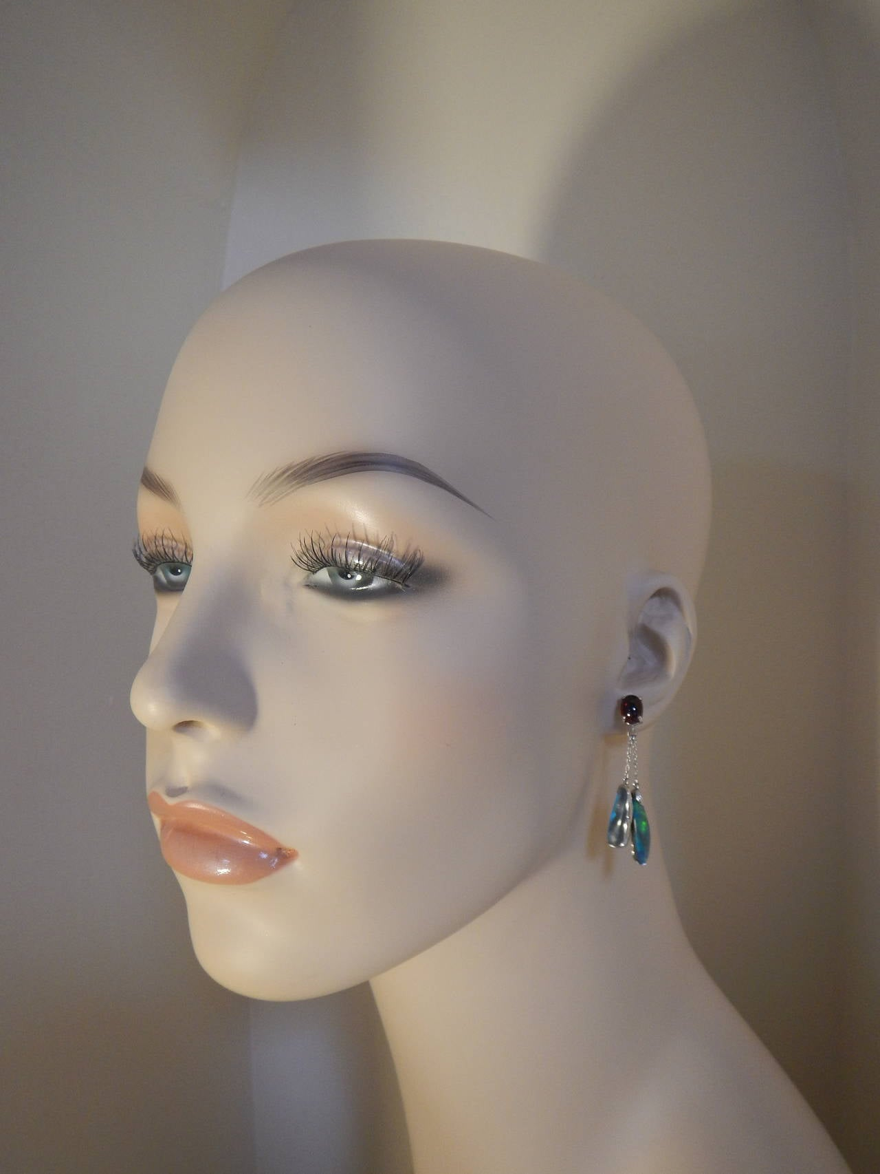 Blue Opals, Red Garnet Dangle Earrings 2