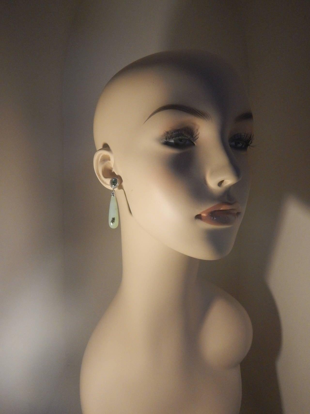 Contemporary Peruvian Opal, Tourmaline and Diamond Earrings 2