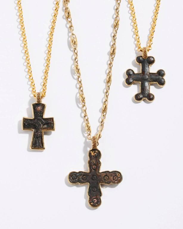 9th Century A.D. Bronze cross framed in 22K Yellow Gold with six stones 0.6ct cognac colored diamonds on an 18 inch 24K Yellow Gold satellite fancy link chain. Certificate of Authentication available.