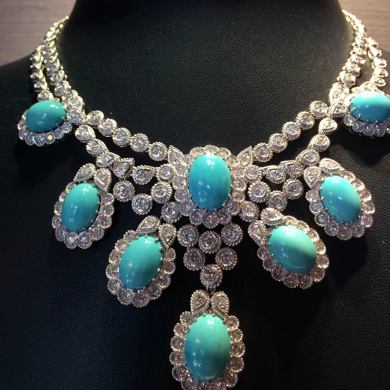 Turquoise Diamond Platinum Necklace At 1stdibs