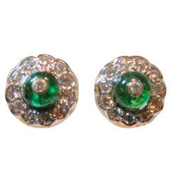 Emerald Diamond Gold Stud Earrings