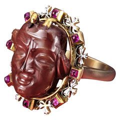 Antique Enamel, Ruby and Gold Figural Ring