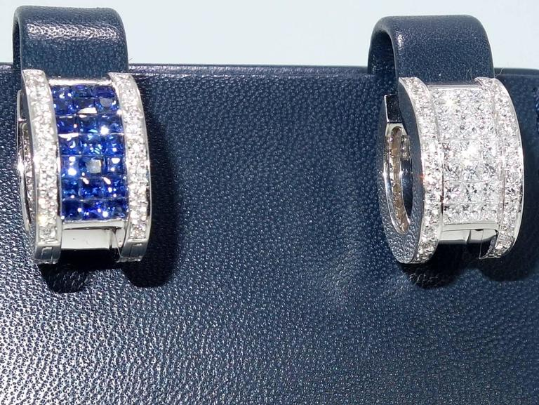 """Invisibly Set Sapphire Diamonds Gold """"Reversible"""" Earrings 2"""