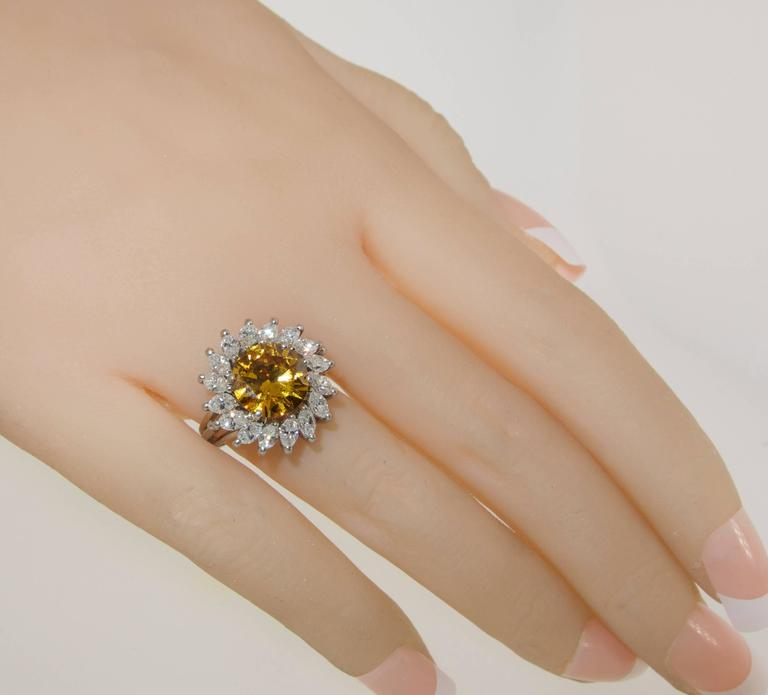 Cognac White Diamond Platinum Ring In Excellent Condition For Sale In Aspen, CO