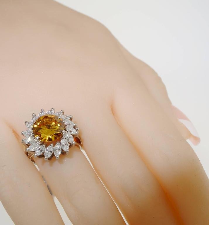 Women's Cognac color and White Diamond Platinum Ring For Sale