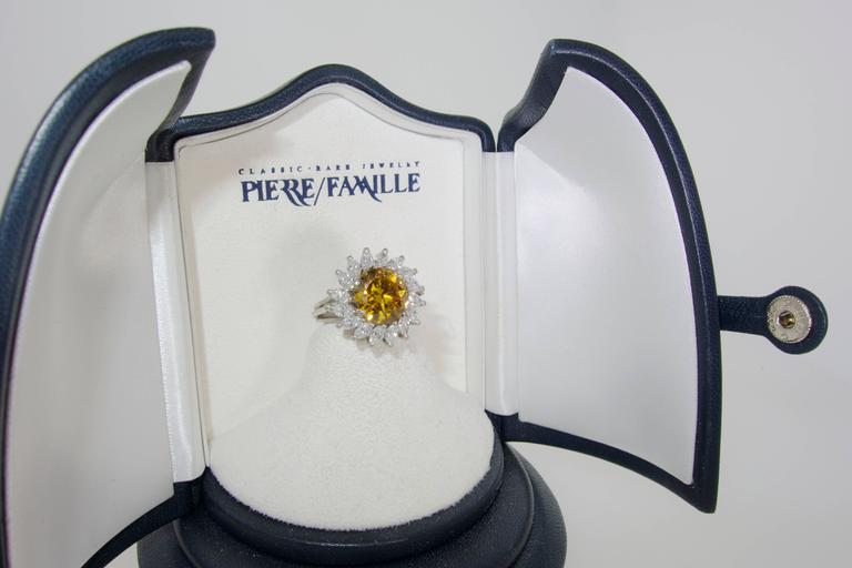 Cognac color and White Diamond Platinum Ring For Sale 1