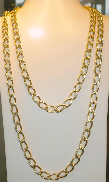 Contemporary Long Gold Chain Necklace and Bracelet For Sale