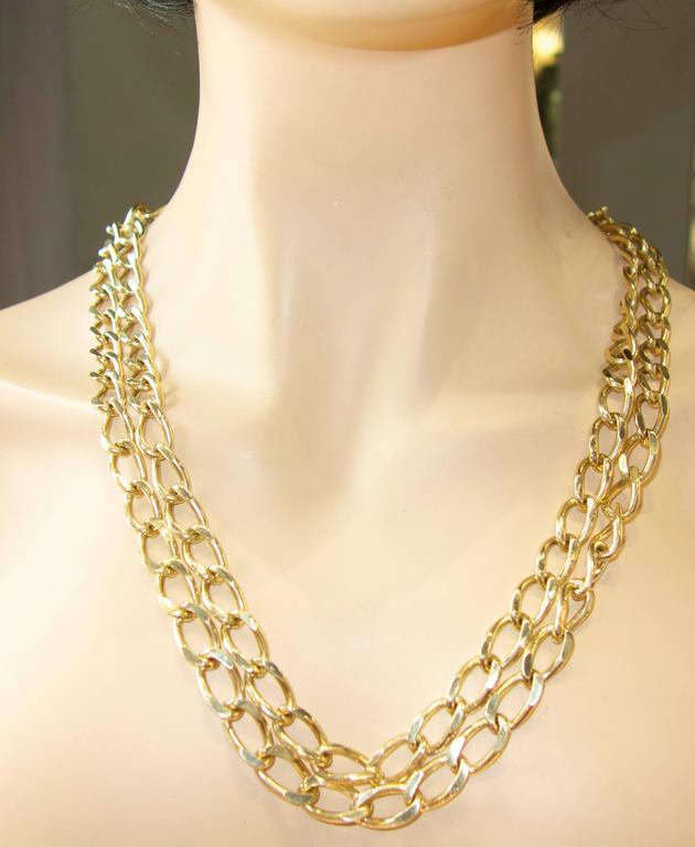 Long Gold Chain Necklace and Bracelet In Excellent Condition For Sale In Aspen, CO