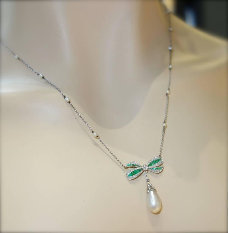 Edwardian Natural Pearl Emerald Diamond Pendant 3