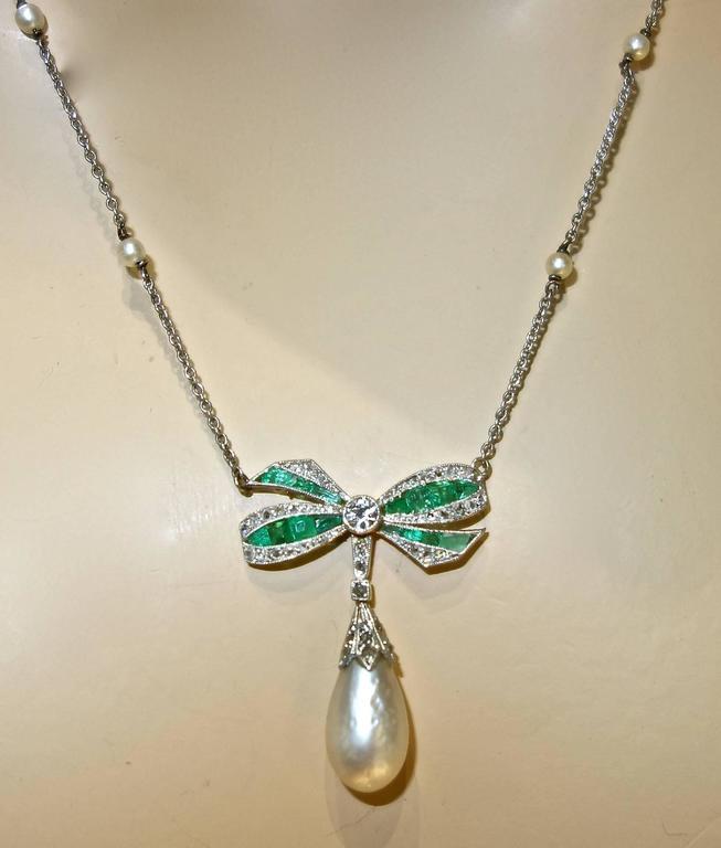 Edwardian Natural Pearl Emerald Diamond Pendant 2