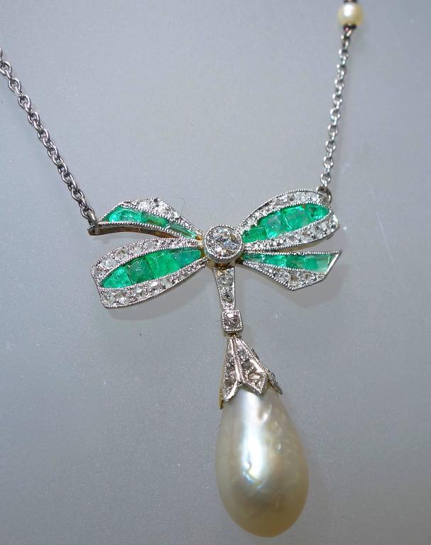 Edwardian Natural Pearl Emerald Diamond Pendant 4