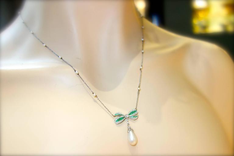 Edwardian Natural Pearl Emerald Diamond Pendant 5