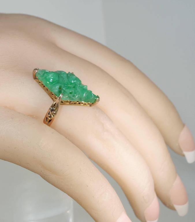 Early Jadeite Jade Rose Gold Ring 3