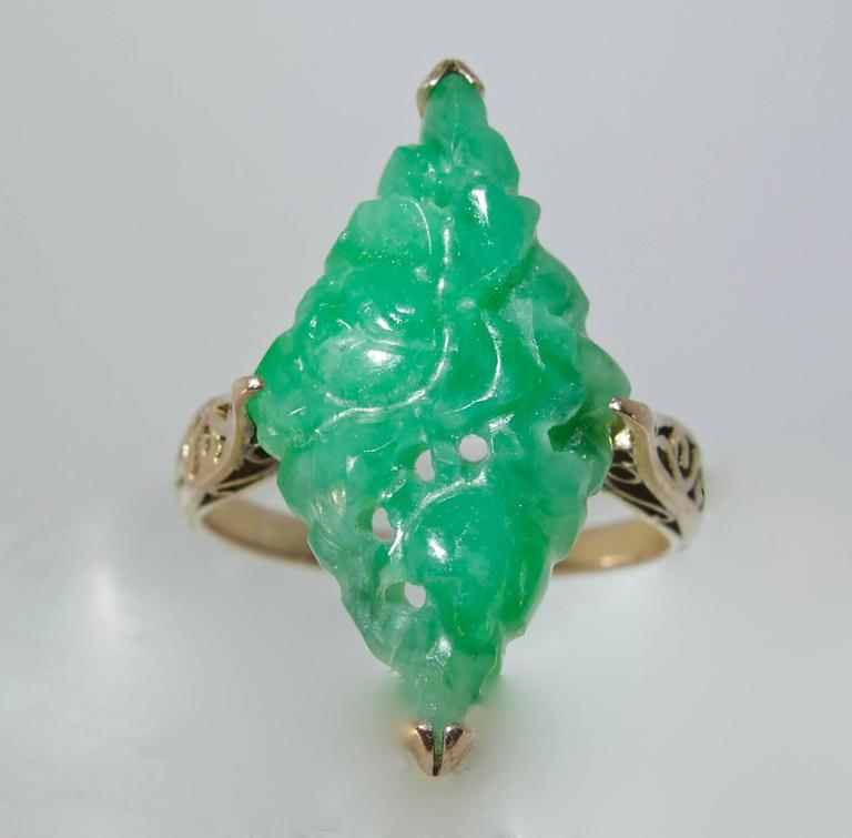 Early Jadeite Jade Rose Gold Ring 4