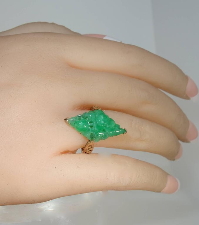Early Jadeite Jade Rose Gold Ring 5