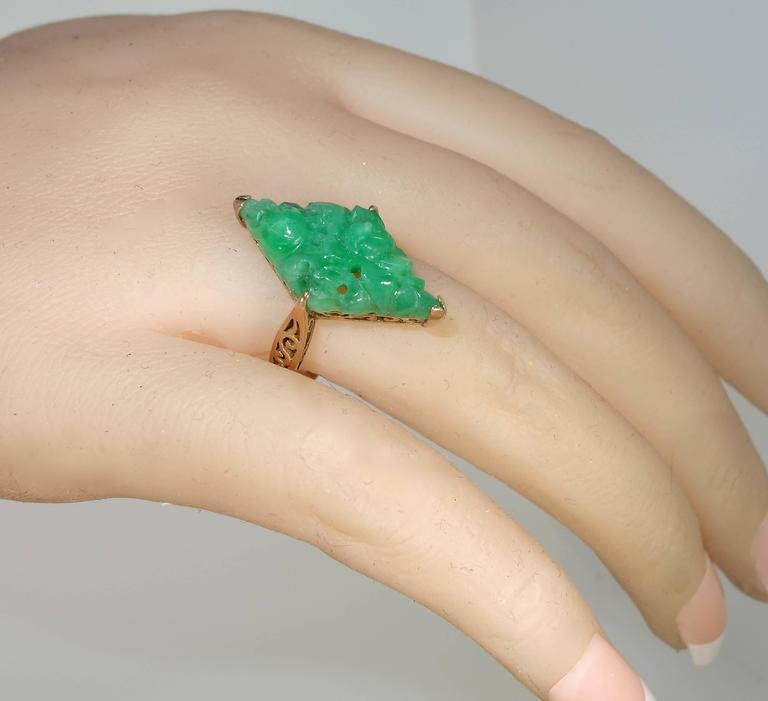 Early Jadeite Jade Rose Gold Ring 6