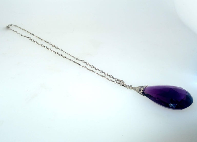 Fine Briolette Amethyst and Diamond Necklace 4