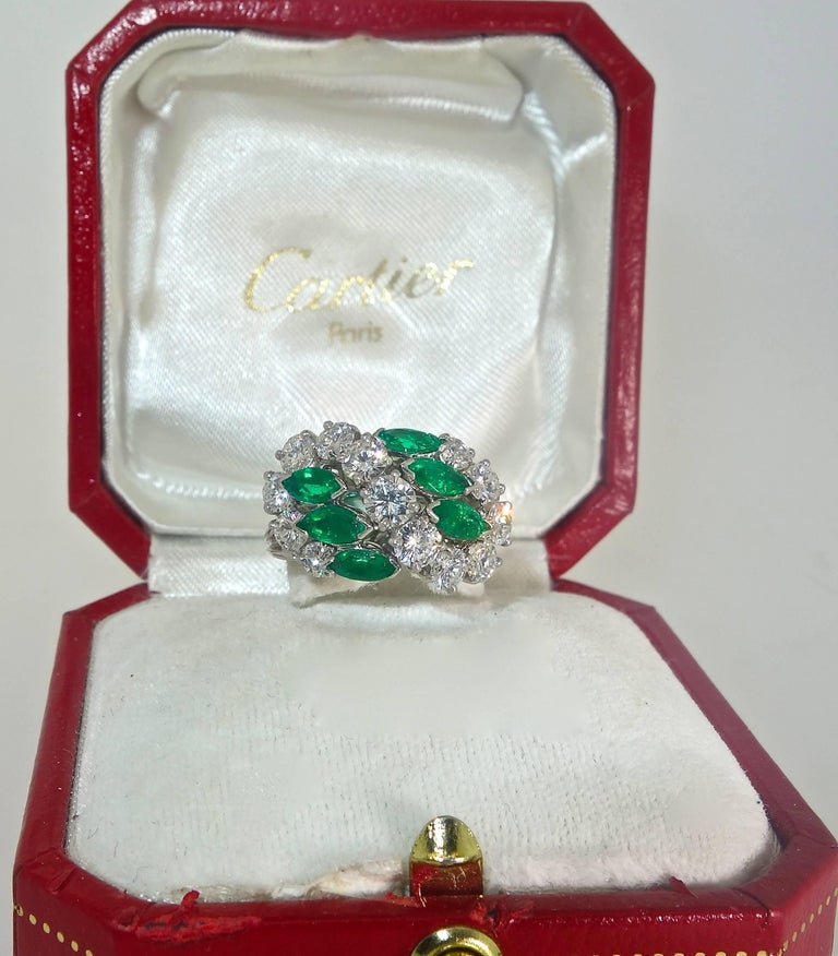 Contemporary Cartier Diamond Emerald Ring For Sale