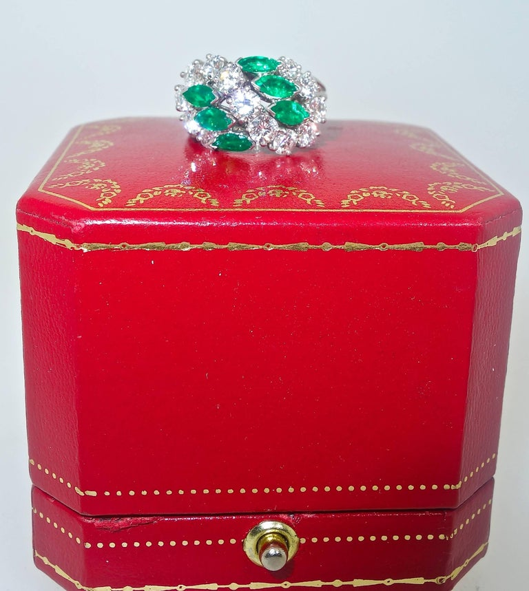 Women's Cartier Diamond Emerald Ring For Sale