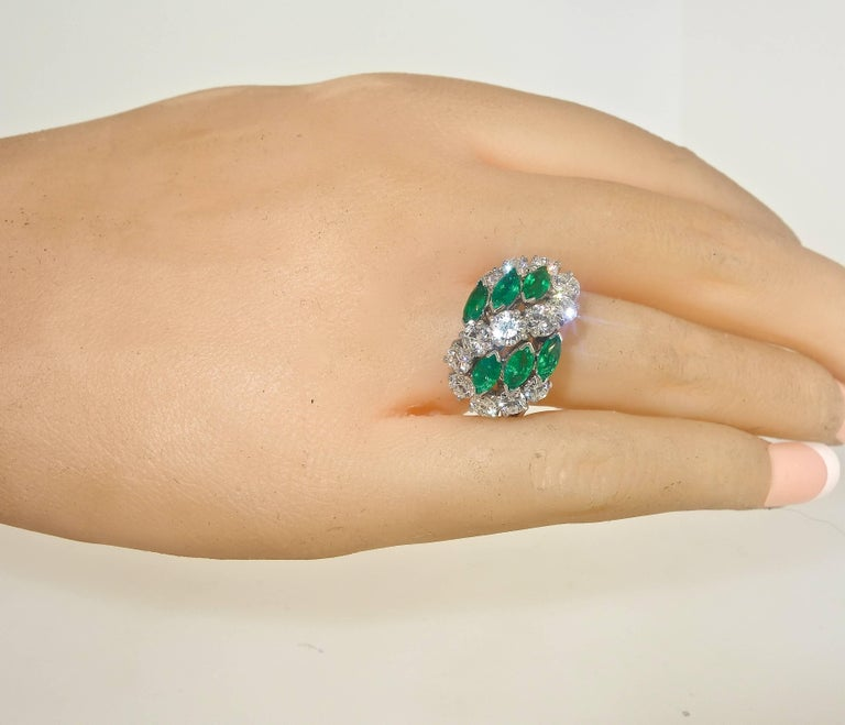 Cartier Diamond Emerald Ring For Sale 1