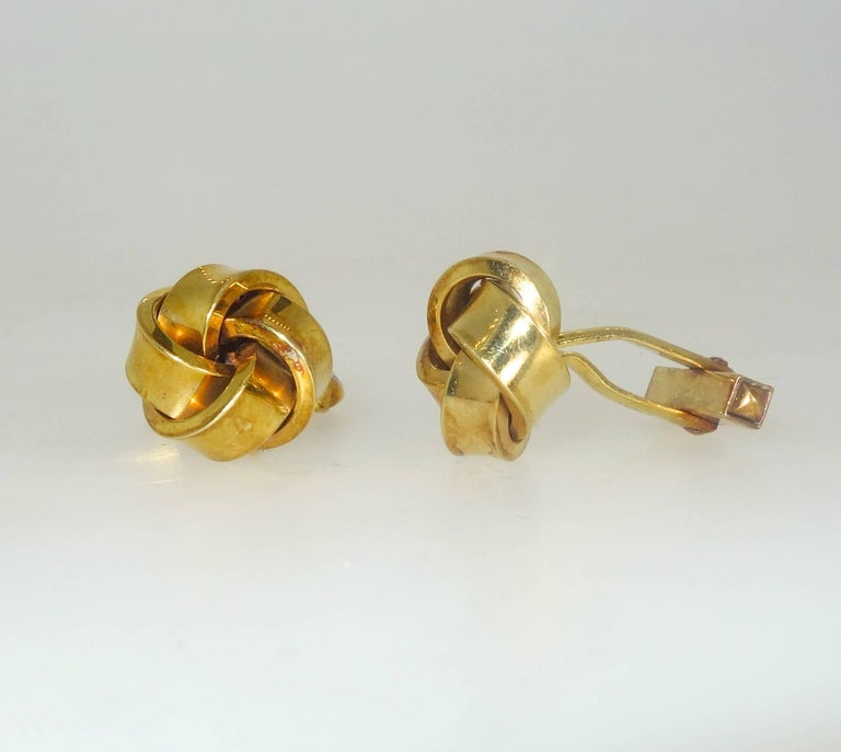 Large Love-Knot Gold Cufflinks 2