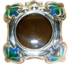 Art Nouveau Sterling Silver and Enamel Frame, English, circa 1900