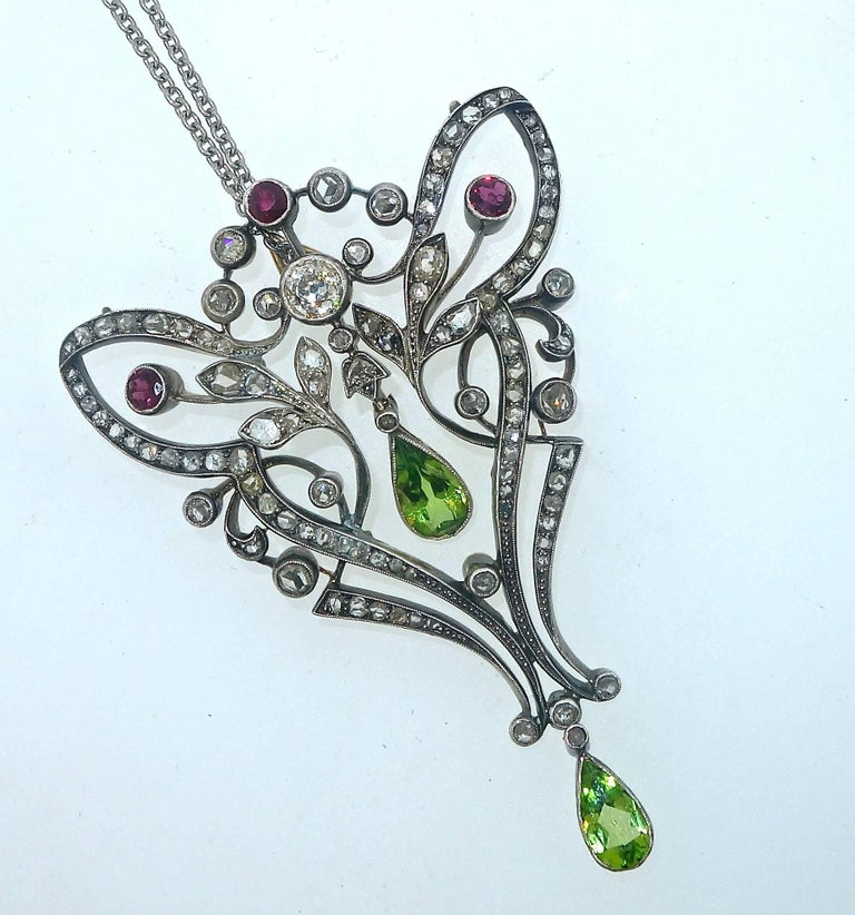 Antique Peridot, Ruby and Diamond Pendant, circa 1870 4