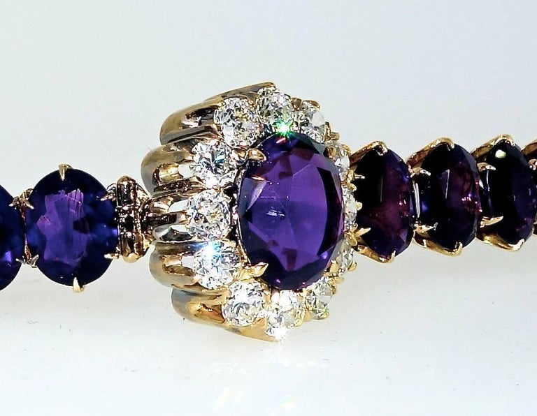 Victorian Antique Diamond and Siberian Amethyst Bracelet For Sale