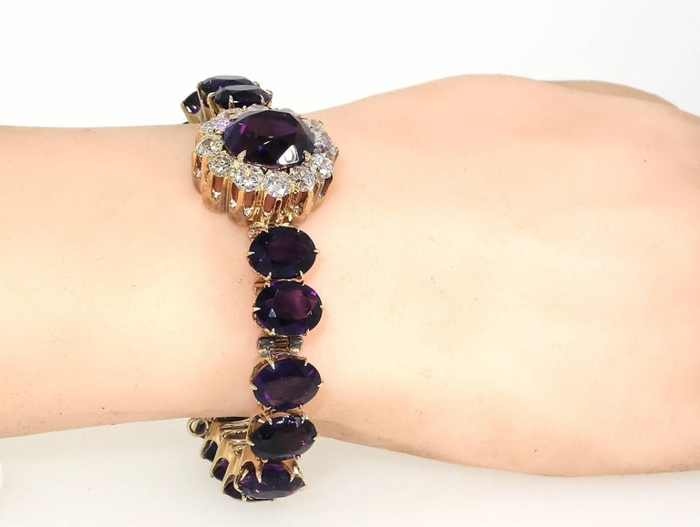 Antique Diamond and Siberian Amethyst Bracelet For Sale 1