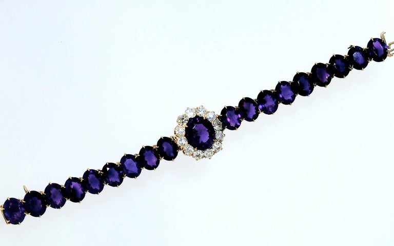 Women's or Men's Antique Diamond and Siberian Amethyst Bracelet For Sale