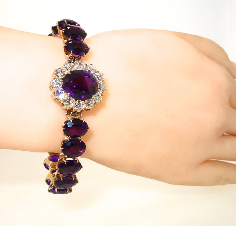 Antique Diamond and Siberian Amethyst Bracelet For Sale 2