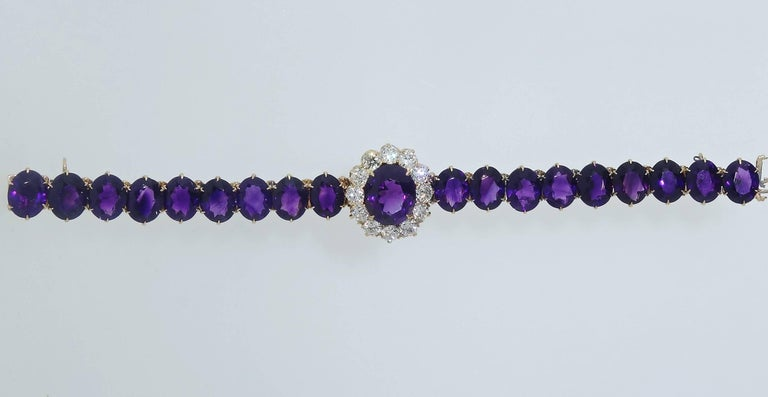 Old European Cut Antique Diamond and Siberian Amethyst Bracelet For Sale