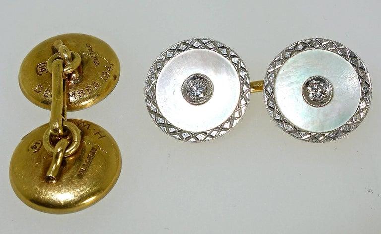 Art Deco Platinum, Diamond and Mother-of-Pearl Cufflinks, Carrington, circa 1920 For Sale