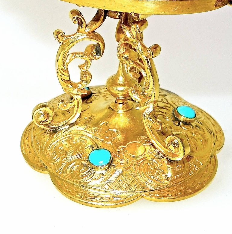 Victorian Antique Agate and Enamel Ring Holder, circa 1880 For Sale